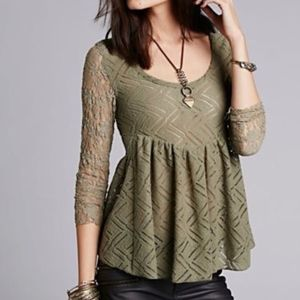 Free People Lace 3/4 Sleeve Peplum Top